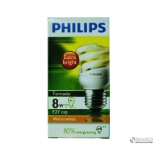 PHILIPS TORNADO 8W WW E27 220-240V 1CT12 KOTAK 3032120010055 8718291777175